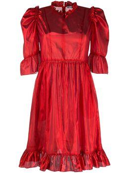 Batsheva платье мини из ткани ламе с оборками BHW0005NPS20D