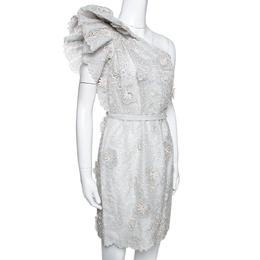 Stella McCartney Pale Grey Floral 3D Lace Rosea One Shoulder Dress M 292484