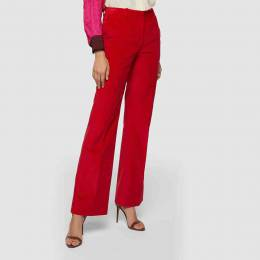 Victoria Beckham Red High Waist Flared Cotton Trousers UK 12 293686