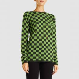 Marc Jacobs Green Check Long Sleeve Grunge Jumper XS 293372
