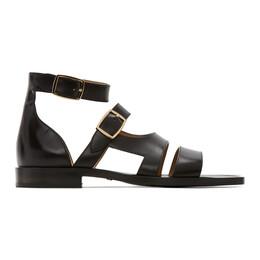 Fendi Black Leather Sandals 7X1343 PJQ