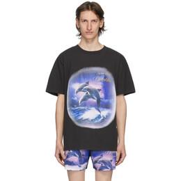 Han Kjobenhavn Black Swim With Dolphins T-Shirt M-130181