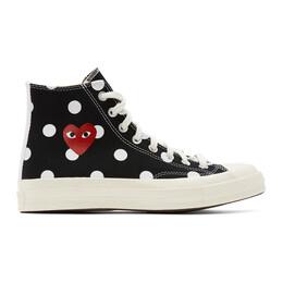 Comme Des Garcons Play Black Converse Edition Polka Dot Heart Chuck 70 High Sneakers P1K115