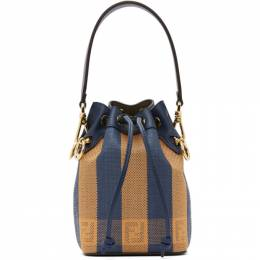 Fendi Blue and Orange Raffia Mini Mon Tresor Bag 8BS010 AB5L