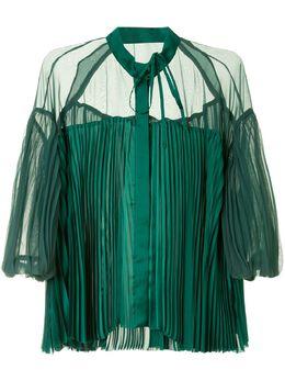 Sacai плиссированная блузка с пышными рукавами 2005024