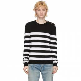 Balmain White and Black Wool Nautical Sweater UH13432K017
