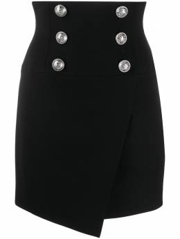 Balmain asymmetric button-embellished skirt TF04027V093