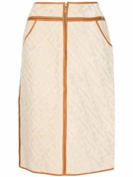 Fendi Pre-Owned жаккардовая юбка прямого кроя с узором Zucca 44A3069T09X0