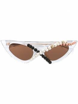 Kuboraum солнцезащитные очки Y3 в оправе 'кошачий глаз' с бусинами KRS0Y3CRYS
