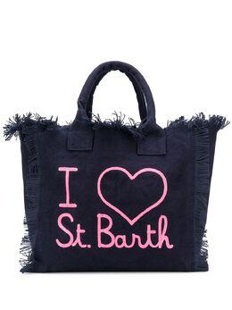 Mc2 Saint Barth slogan-print frayed beach bag VANITY