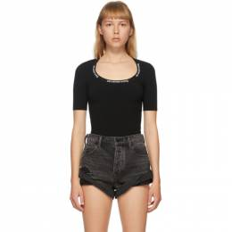 T By Alexander Wang Black Logo Trim Bodycon T-Shirt 4KC2201057