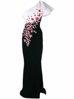 Saiid Kobeisy платье макси на одно плечо с цветочным принтом RTWSS2042
