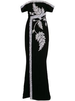 Saiid Kobeisy платье макси с цветочной вышивкой RTWSS2044