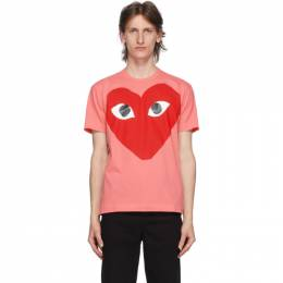 Comme Des Garcons Play Pink and Red Big Heart T-Shirt P1T274