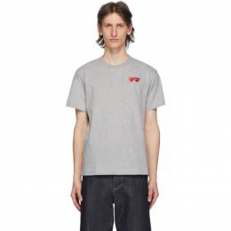 Comme Des Garcons Play Grey and Red Double Hearts T-Shirt P1T226