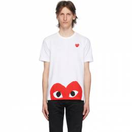 Comme Des Garcons Play White Half Heart T-Shirt P1T034