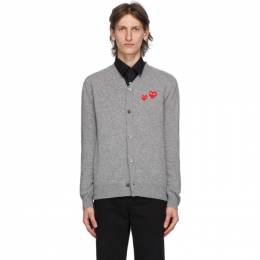 Comme Des Garcons Play Grey Wool Double Heart Cardigan P1N072