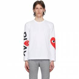 Comme Des Garcons Play White Big Heart Long Sleeve T-Shirt P1T258