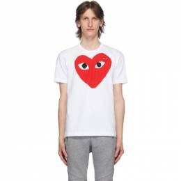 Comme Des Garcons Play White and Red Big Heart T-Shirt P1T026