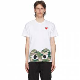 Comme Des Garcons Play White Camo Half Heart T-Shirt P1T244