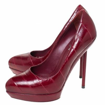 Saint Laurent Red Leather Pointed Toe Platform Pumps Size 39 294472 - 3