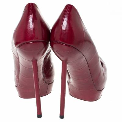 Saint Laurent Red Leather Pointed Toe Platform Pumps Size 39 294472 - 4
