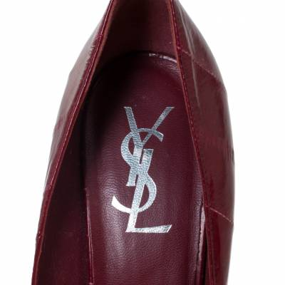 Saint Laurent Red Leather Pointed Toe Platform Pumps Size 39 294472 - 6