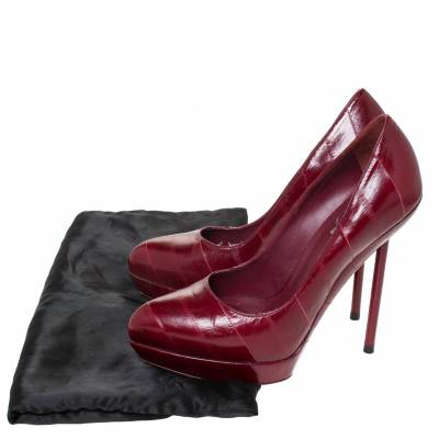 Saint Laurent Red Leather Pointed Toe Platform Pumps Size 39 294472 - 7