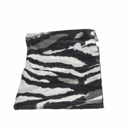 Roberto Cavalli Monochrome Abstract Animal Print Silk Scarf 292730