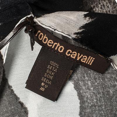 Roberto Cavalli Monochrome Abstract Animal Print Silk Scarf 292730 - 4
