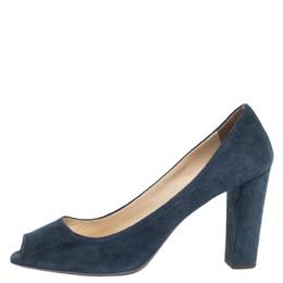 Prada Blue Suede Block Heel Peep Toe Pumps Size 41 292732