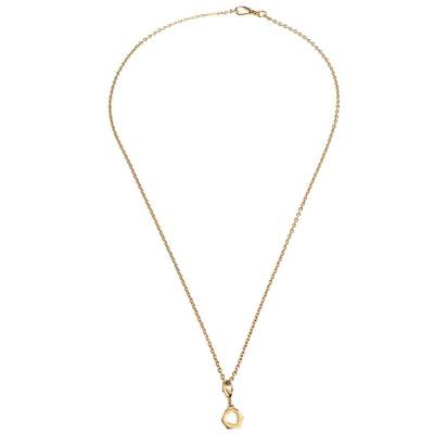 Prada Heart Charm Gold Tone Chain Link Long Necklace 294405 - 1