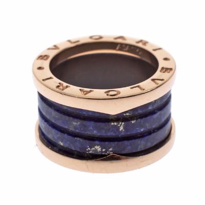 Bvlgari B.Zero1 Lapis Lazuli 18K Rose Gold Band Ring Size 48 294408 - 1