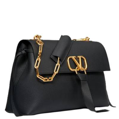 Valentino Black Grainy Leather Medium VRING Chain Shoulder Bag 294490 - 2