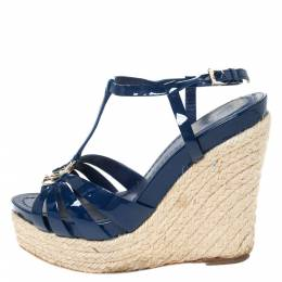 Dior Blue Patent Leather Espadrille Wedge T-Strap Platform Sandals Size 36.5 294540