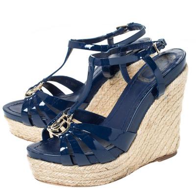 Dior Blue Patent Leather Espadrille Wedge T-Strap Platform Sandals Size 36.5 294540 - 3