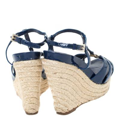 Dior Blue Patent Leather Espadrille Wedge T-Strap Platform Sandals Size 36.5 294540 - 4