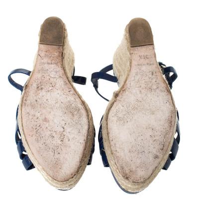 Dior Blue Patent Leather Espadrille Wedge T-Strap Platform Sandals Size 36.5 294540 - 5