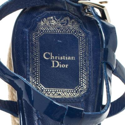 Dior Blue Patent Leather Espadrille Wedge T-Strap Platform Sandals Size 36.5 294540 - 6