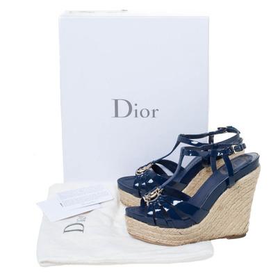 Dior Blue Patent Leather Espadrille Wedge T-Strap Platform Sandals Size 36.5 294540 - 7