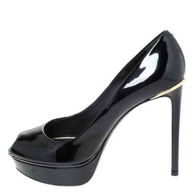 Louis Vuitton Black Patent Leather Eyeline Peep Toe Platform Pumps Size 38 294531 - 1