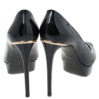 Louis Vuitton Black Patent Leather Eyeline Peep Toe Platform Pumps Size 38 294531 - 4