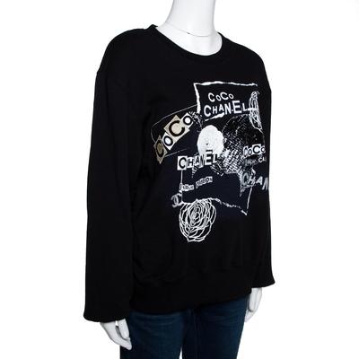 Chanel Black Printed & Embellished Cotton Long Sleeve Sweatshirt XL 292391 - 1