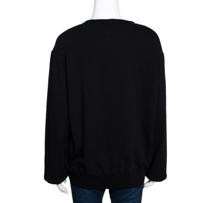 Chanel Black Printed & Embellished Cotton Long Sleeve Sweatshirt XL 292391 - 2