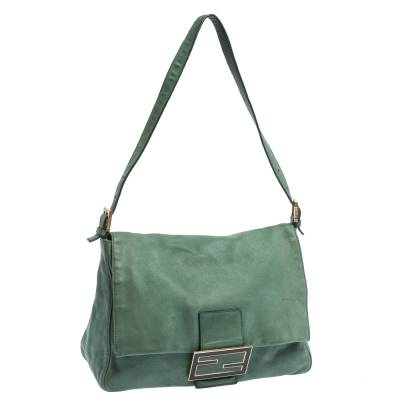 Fendi Green Iridescent Leather Mama Forever Large Flap Shoulder Bag 292704 - 2