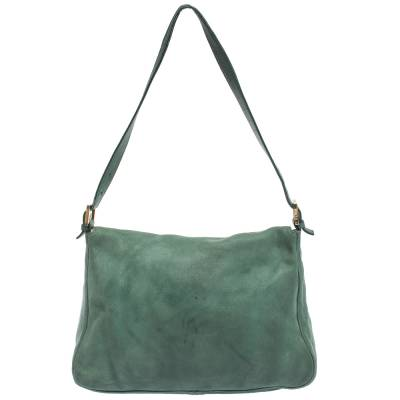 Fendi Green Iridescent Leather Mama Forever Large Flap Shoulder Bag 292704 - 3