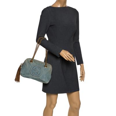 Gucci Blue Denim Medium Soho Chain Shoulder Bag 292700 - 1