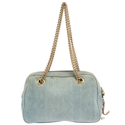 Gucci Blue Denim Medium Soho Chain Shoulder Bag 292700 - 3