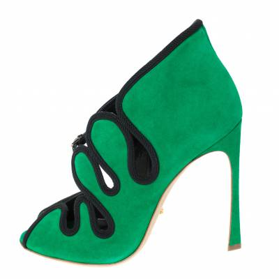 Sergio Rossi Green Suede Lagoon Cut Out Pumps Size 38 294480 - 1