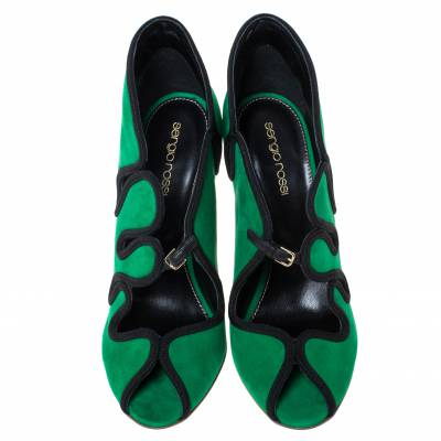 Sergio Rossi Green Suede Lagoon Cut Out Pumps Size 38 294480 - 2